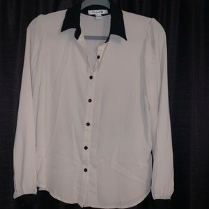 Nude & black button up blouse